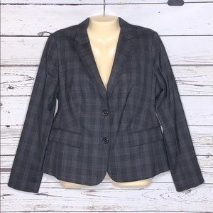 Talbots 12P Gray & Orange Plaid Wool Blazer Jacket